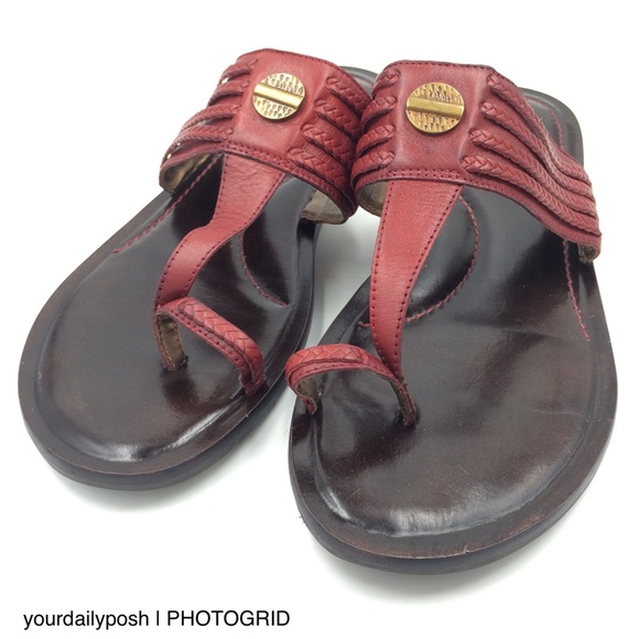 Naturalizer Shoes - Naturalizer braided red leather toe loop sandals